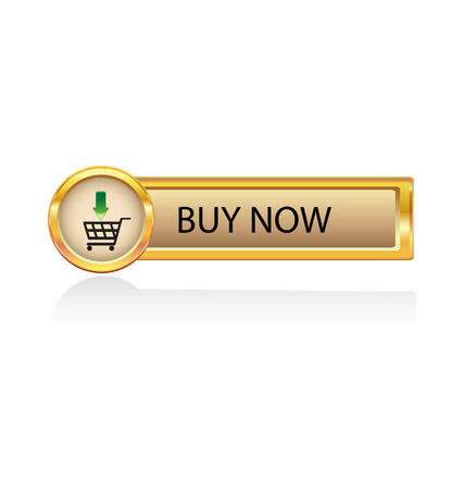 add button: gold button with buy symbol  Illustration