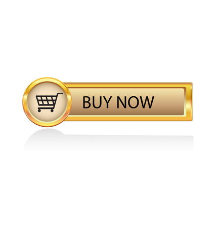 botón de oro con el símbolo de la compra  Ilustración de vector