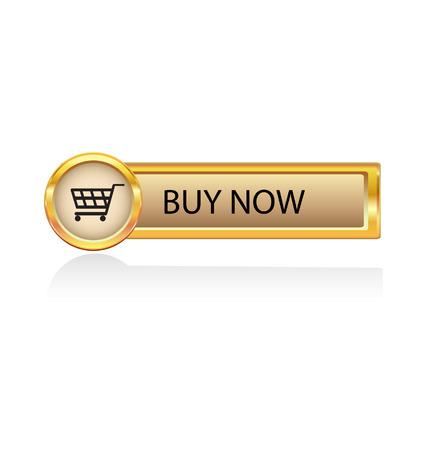 agregar: bot�n de oro con el s�mbolo de la compra  Vectores