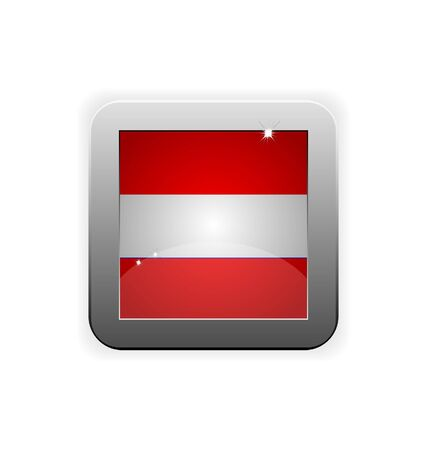 glossy button with flag of austria Vector