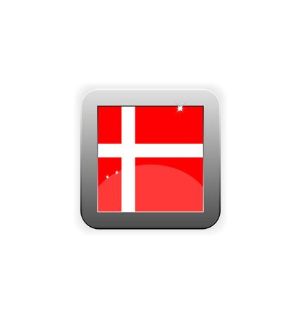glossy button with flag of Denmark  Illustration