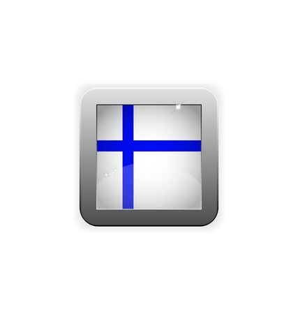 glossy button with flag of Finland