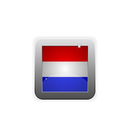 glossy button with flag of holland