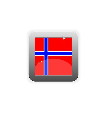glossy button with flag of Norway
