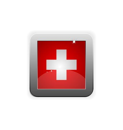 glossy button with flag of swiss Stock Vector - 7796135