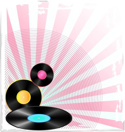 background with old vinyl disc  Vector