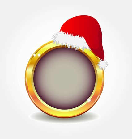 gold button with santa`s hat  Stock Vector - 7796122