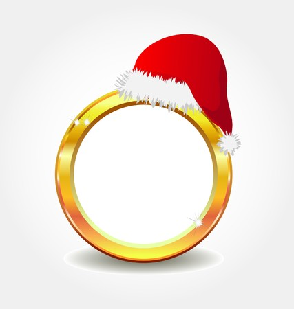 gold frame  with santa`s hat  Vector