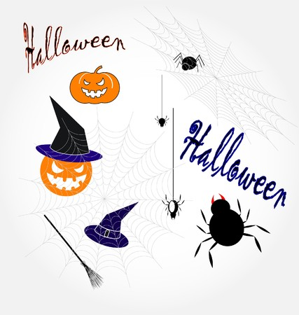 set of Halloween`s icons  Vector