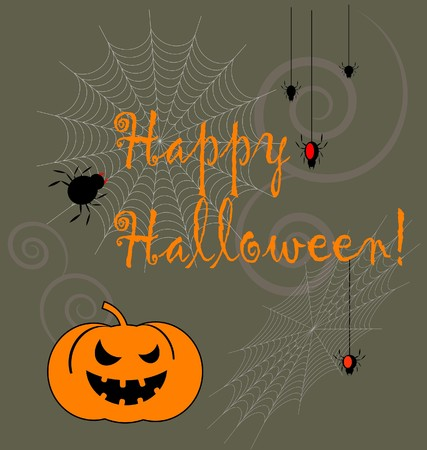 background with Halloween symbols  Vector