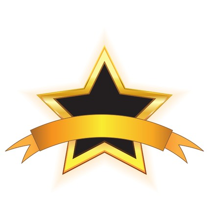 gouden ster: gouden ster met gouden lint  Stock Illustratie