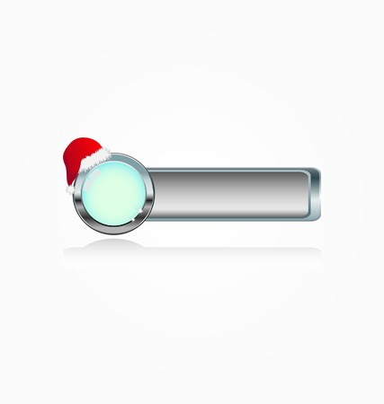 metal button with santa`s hat  Vector