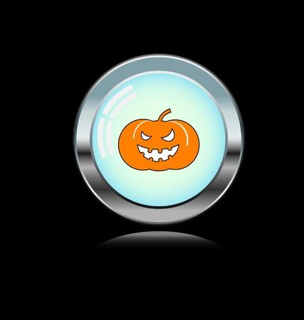 metal button with hallowen icon Vector