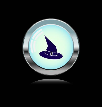 bewitchment: metal button with witch hat