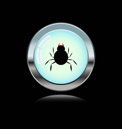 metal button with spider icon  Vector