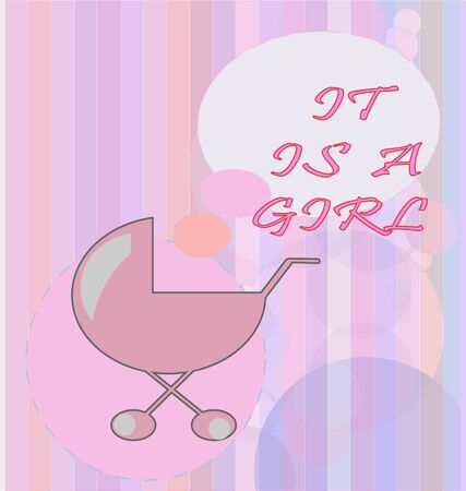 card with baby girl carriage Stock Vector - 7903163