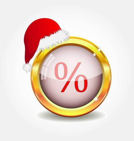 gold button with christmas sale symbol