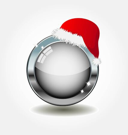 december holiday: empty metal button with santa`s hat