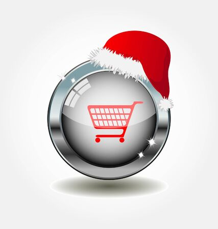 metal button with shopping icon  Illustration