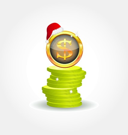 Golden coins with dollar symbol Vector