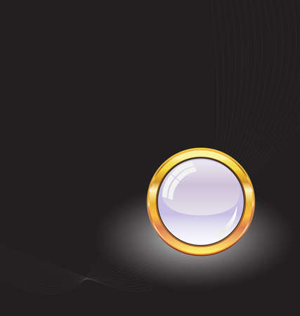 gold button with neon light Vector