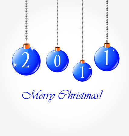 christmas background with blue garland  Vector