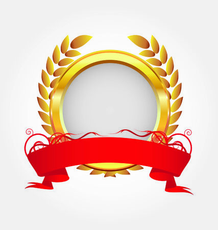 golden frame with red ribbon