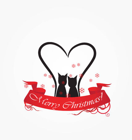 two cat with red christmas ribbon  Vector