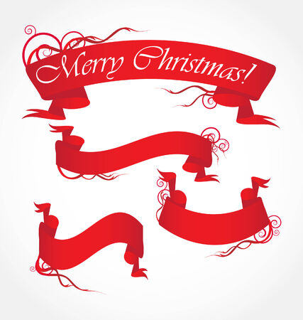 merry christmas red ribbons Stock Vector - 8197077
