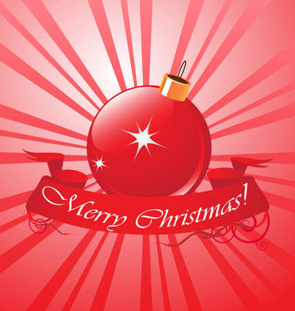 christmas red ball with red ribbon Stock Vector - 8197076