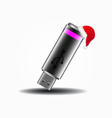 vector USB-stick with santa`s hat  Vector