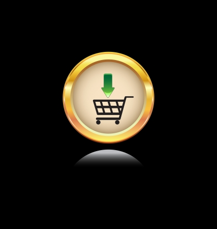 glossy gold button with shopping symbol