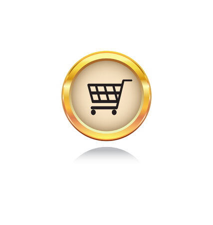 gold button with shopping symbol