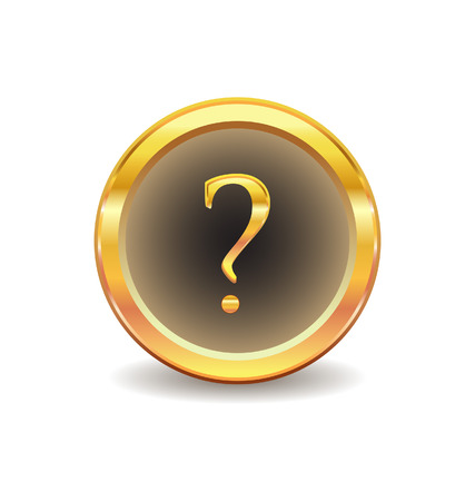 gold button: gold button with question sign  Illustration