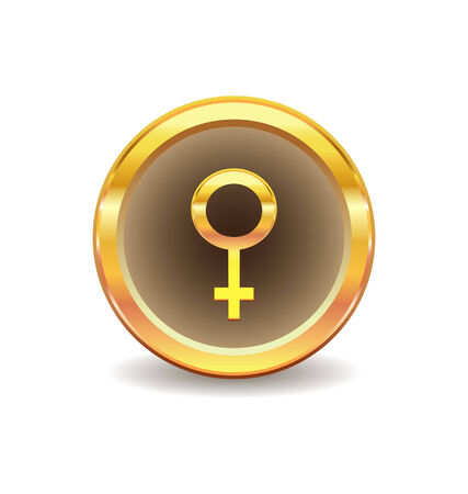 female sex: gold button with female sex symbol  Illustration