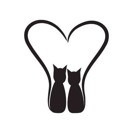 two cats with heart  Vector