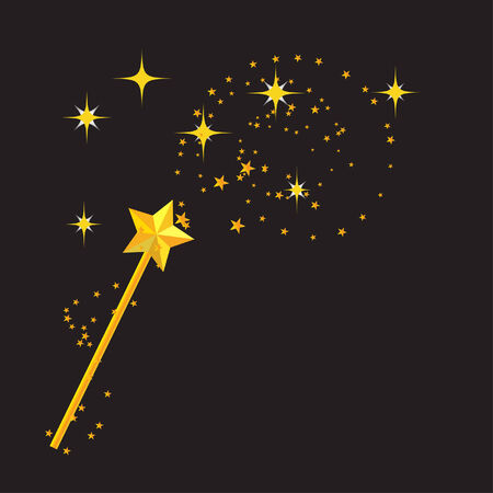 magic wand with black background  Stock Illustratie