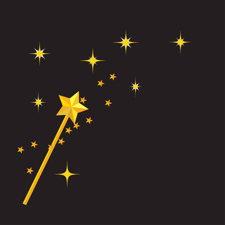 magic wand with black background Stock Vector - 8369969