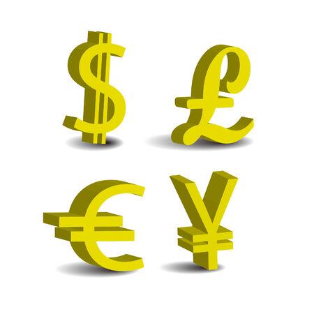 Set Of 4 Currency 3d Symbols Usd Pound Euro Yen Royalty Free