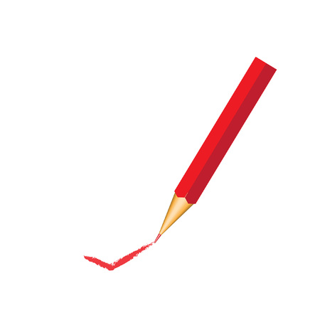red pencil with ok sign