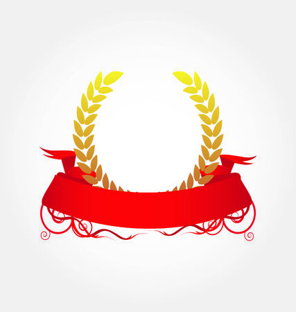 achievement clip art: Laurel wreath with red ribbon