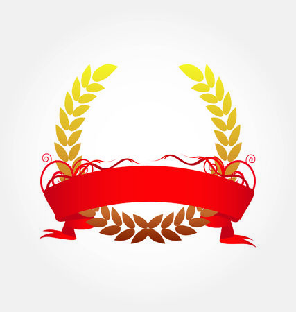 Laurel wreath with red ribbon  Vector