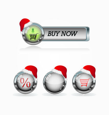 metal buttons with shopping icons
