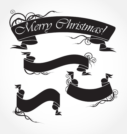 merry christmas black ribbons Stock Vector - 8398495