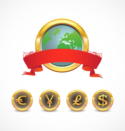 world map with world currency icons  Vector