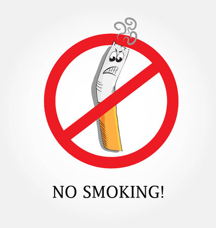 smoldering cigarette: no smoking symbol Illustration