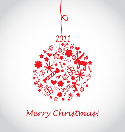 christmas ball with christmas icons