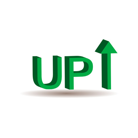 increase: green 3D up sign with arrow