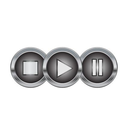 botones de metales con el juego pausar símbolo de parada