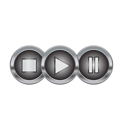 metal buttons with play pause stop symbol Stock Vector - 8555588